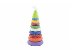 Skládanka pyramida s kroužky plast 2 barvy v síťce 15x31cm 12m+