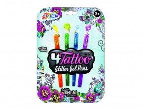 Tetovací pera třpytivá 4 ks skladem