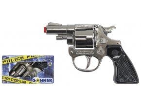 Policejní revolver kovový stříbrný kovový 8 ran skladem