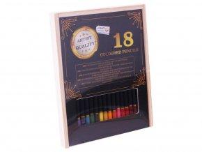 Pastelky Exclusive art v dřevěné krabičce 18 ks skladem