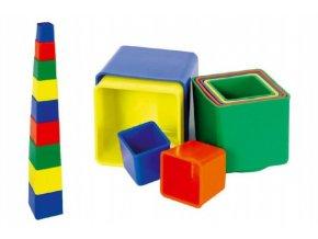 Kubus pyramida skládanka hranatá plast asst 4 barvy 9ks v sáčku 9x9x9cm 12m+ skladem