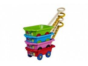 Vozík/Vlečka dětská plast mix barev v sáčku skladem