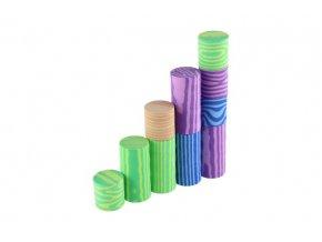 Kostky pěnové barevné měkké 60ks imitace dřeva v plastové tašce 23x28x23cm 12m+