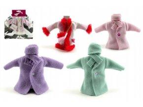 Šaty/Oblečky kabátek na panenky tm. růžový kabátek