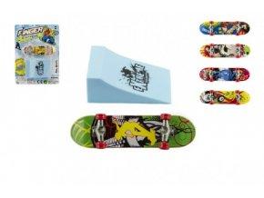 Skateboard prstový s rampou 10cm mix barev (Skladem)