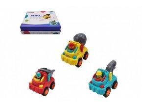 Auto stavební s panáčkem plast 8-10cm na setrvačník 3 druhy (1 ks)