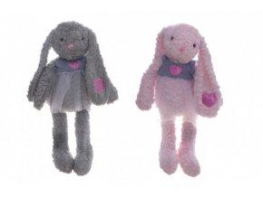 Králík/králíček se sukýnkou plyš 60cm 2 barvy v sáčku 0+