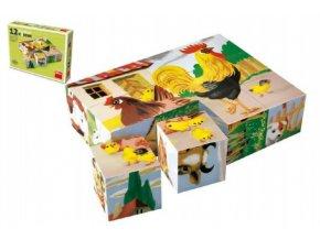 Kostky kubus Domácí zvířátka dřevo 12ks v krabičce skladem
