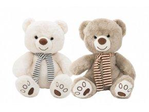 Medvěd sedící se šálou plyš 29cm 2 barvy v sáčku 0+