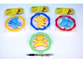 Chrastítko Medvěd/Zajíc plast 12,5cm asst 4 barvy v sáčku oranžový medvídek