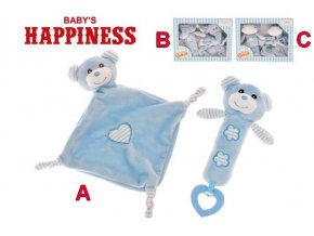zviratka plysova modra piskatko 20cm usinacek 32x32cm baby s happiness 0m druh c