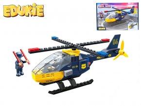 EDUKIE stavebnice policejní vrtulník 106ks + 2figurky v krabičce