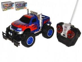 Auto RC terénní plast 25cm na baterie se světlem asst 2 barvy v krabici