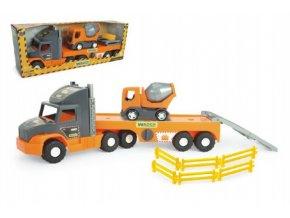 Auto velký nákladní Super Tech Truck návěs 78cm + auto domíchávač 24cm plast Wader v krabici