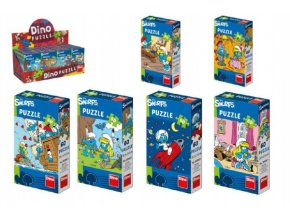 Puzzle Šmoulové 60 dílků 23,5x21,5cm mix z 6 druhů v krabičce
