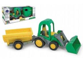 Traktor/Nakladač s vlečkami plast 37cm asst 2 druhy v krabici Wader