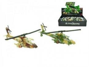 helikoptera vojenska 20cm kov zpetny chod na baterie se svetlem a zvukem 2barvy 6ks v dbx