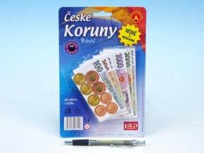 České koruny peníze + mince do hry na kartě skladem