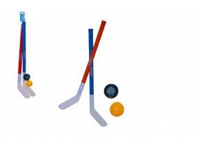 Hokejka pozemní 2ks plast 72cm + florbalový míček + puk v síťce skladem