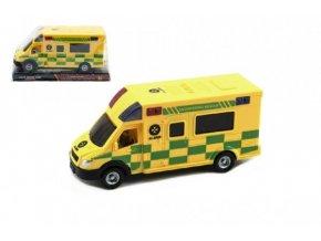 Auto ambulance plast 17cm na setrvačník v blistru skladem
