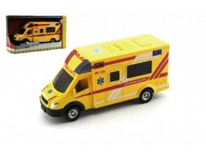 Auto ambulance záchranáři plast 18cm na setrvačník český design v krabičce skladem