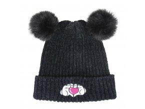 Čepice s dvěma bambulemi černá Disney Minnie