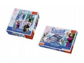 PACK Hra Sněhové dobrodružství Ledové království/Frozen + Puzzle 4v1 20,5x28,5cm mix druhů v krabici