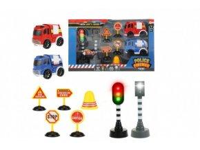 Auto 2ks policie,hasiči+semafor,radar,značky plast na bat. se zvukem se světlem