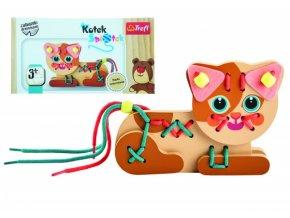 Koťátko/kočka dřevěná hračka navlékací se šňůrkami v krabičce 19x10x5cm