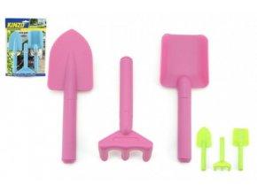 Zahradní nářadí dětské plast 3ks mix z 3 barvy na kartě 19x28cm