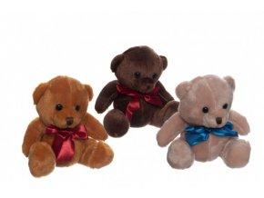 Medvěd/Medvídek sedící se mašlí plyš 3 barvy 15cm v sáčku 0+