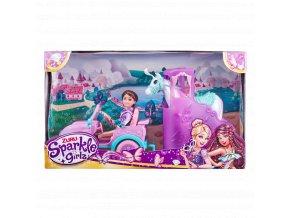 Panenka Sparkle Girlz s jeepem a přívěsem s koněm