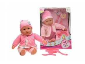 Panenka miminko měkké tělo s doplňky plast 40cm mix z 2 barvy v krabici