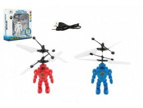 Robot/Vrtulník 15cm reagující na pohyb ruky s USB nabíjecím kabelem se světlem v krabičce 17x18x6cm