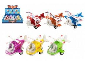 Letadlo/vrtulník kov/plast 10-11cm na zpětné natažení 6 barev (1 ks)