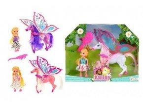 Kůň s křídly a hřebenem česací + panenka 12cm