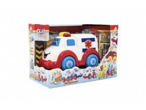 Auto ambulance pro nejmenší plast 15cm na volný chod na bat. se světlem se zvukem v krabičce 12m+