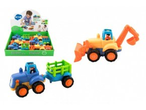 Traktor s vlekem/Buldozer plast 16cm pro nejmenší na setrvačník (1 ks) 18m+