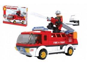 Stavebnice Dromader auto hasiči 192 dílků v krabici 35x25x5,5cm