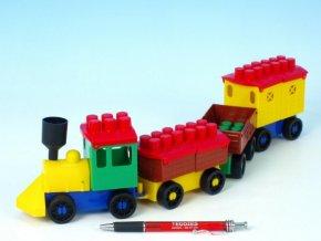 Stavebnice LORI 6 vlak+ 3 vagónky plast skladem