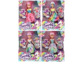 Víla duhová s rohem Sparkle Girlz s doplňky - skladem