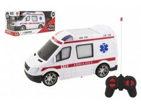 Auto RC ambulance plast 20cm na dálkové ovládání na baterie se světlem v krabici 28x13x11cm