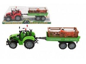 Traktor s přívěsem a zvířátky plast 34cm na setrvačník 2 barvy v blistru