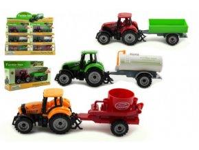 Traktor s přívěsem plast/kov 19cm 3 druhy na volný chod v krabičce 25x13x5,5cm (1 ks)