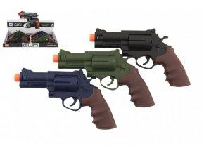 Pistole/revolver plast 17x11cm na baterie se zvukem se světlem 3 barvy (1 ks)