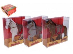 Kůň se sedlem fliška 16cm 3 barvy v krabičce 16x16x5,5cm (1 ks)