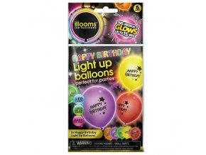 Nafukovací balónky svítící Happy Birthday 4 ks skladem