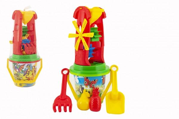 Teddies Sada na písek plast kbelík, mlýnek s doplňky 4 druhy v síťce 20x42x19cm 12m+