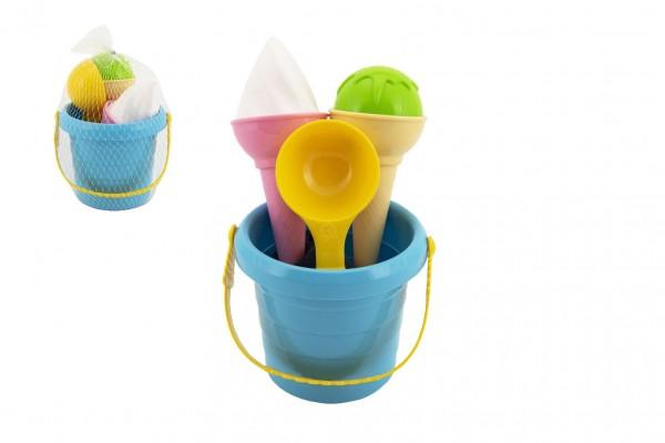 Teddies Sada na písek plast kbelík + formičky zmrzlina v síťce 12x17x12cm 12m+