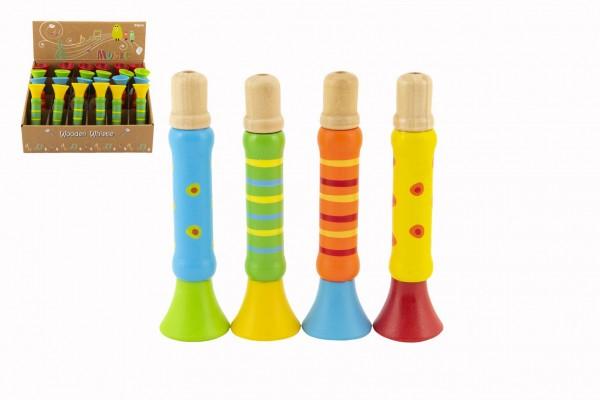 Teddies Píšťalka dřevěná barevná 12 cm 4 barvy (1 ks) 18m+